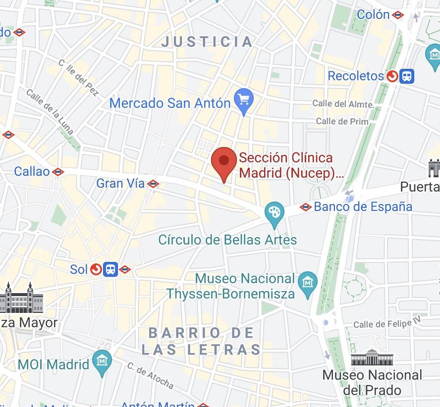 Localización de la Sección Clínica de Madrid (Nucep)